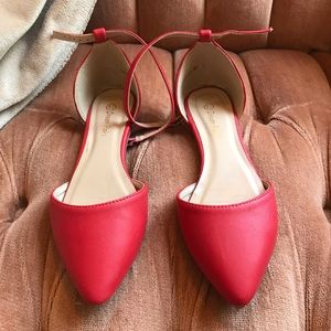 Red Flats with Ankle Straps